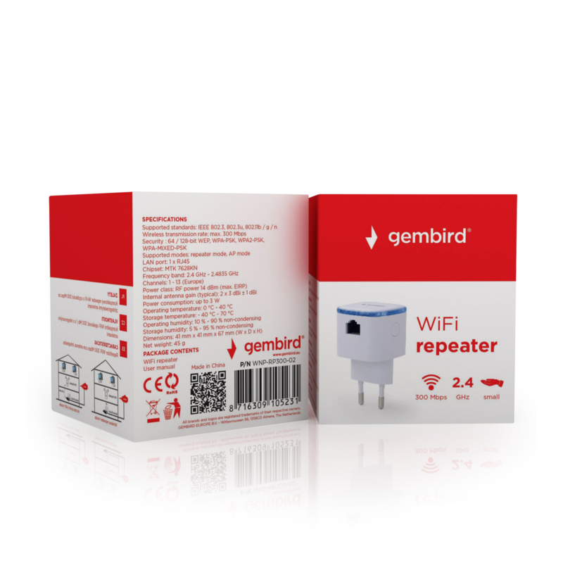 Wifi repeater versterker stopcontact wireless draadloos 300mbps *WIT*