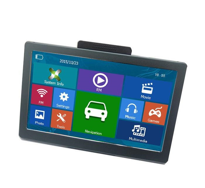 Navigatie 7 inch GPS Full HD  8GB FM USB (IGO) + AV-in & Bluetooth *zwart*