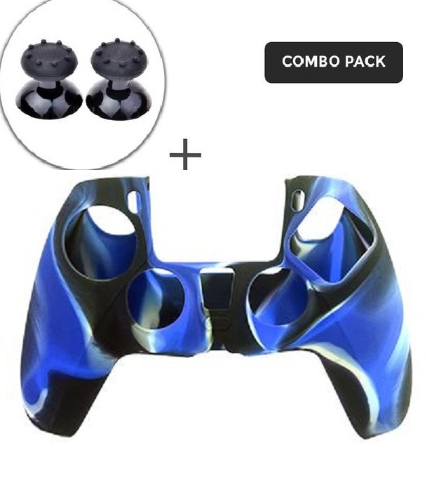 Silicone hoes skin case cover voor PS5 playstation 5 controller *paars camouflage*