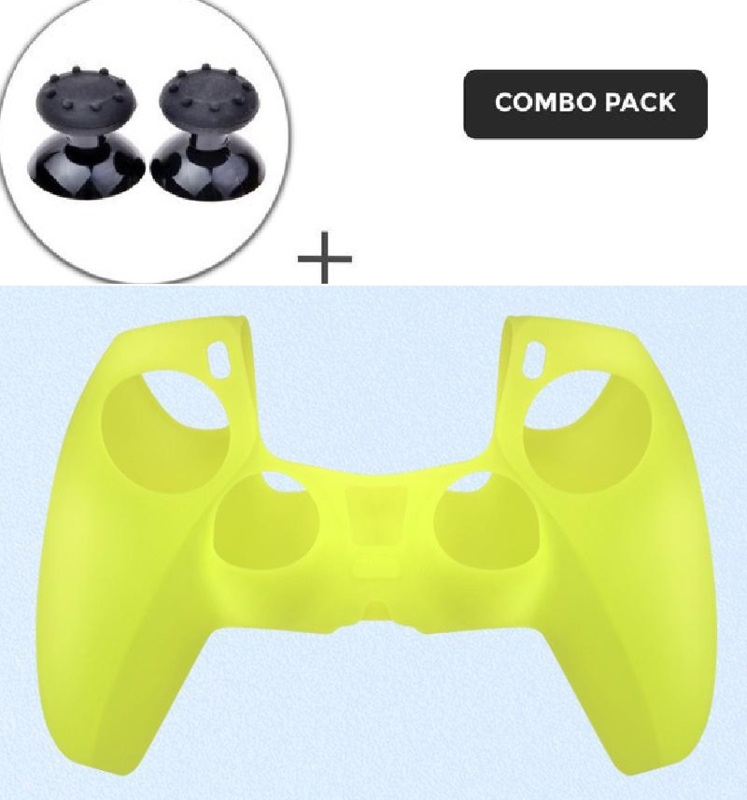 Silicone hoes skin case cover voor PS5 playstation 5 controller *neon groen*