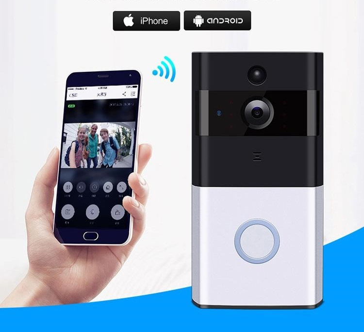 Deurbel Voor Iphone.Wifi Deurbel Intercom Video Camera Deur Bel Draadloos Ring Zilver