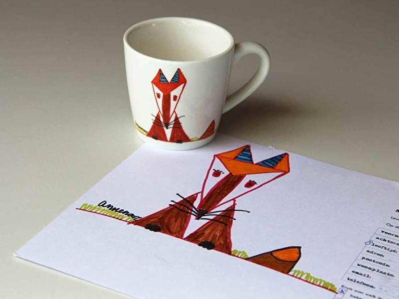 tekening op beker