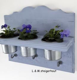 Wandrek/ keukenrek Brocantje (lavendelblauw) incl potjes en  draadhaakjes