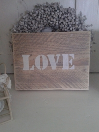 Steigerhout tekstbordje LOVE