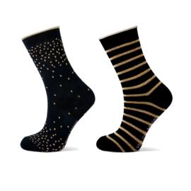 Meisjes sok met goud lurex dots en strepen