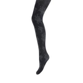 Panty Marianne bloem zwart/antraciet