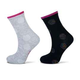 Meisjes sok met lurex dots marine/grijs