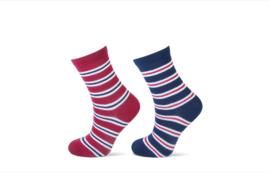 Kindersok streep rood/marine 2-pak