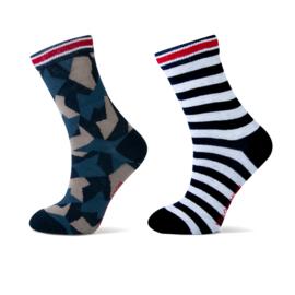 Jongens sok 2-pak army /marine kleuren