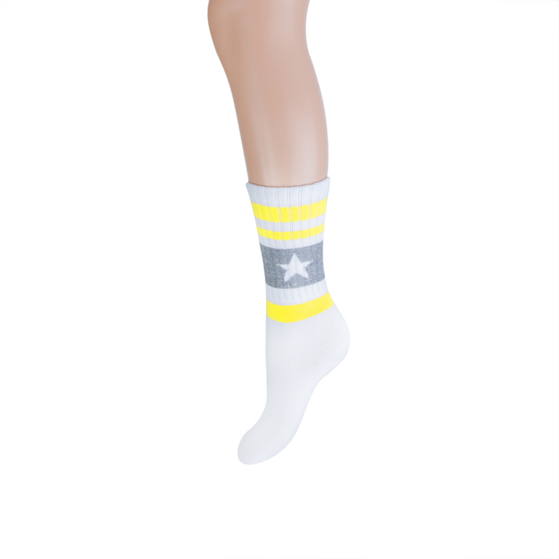 Long sock sportlook wit/grijs/geel