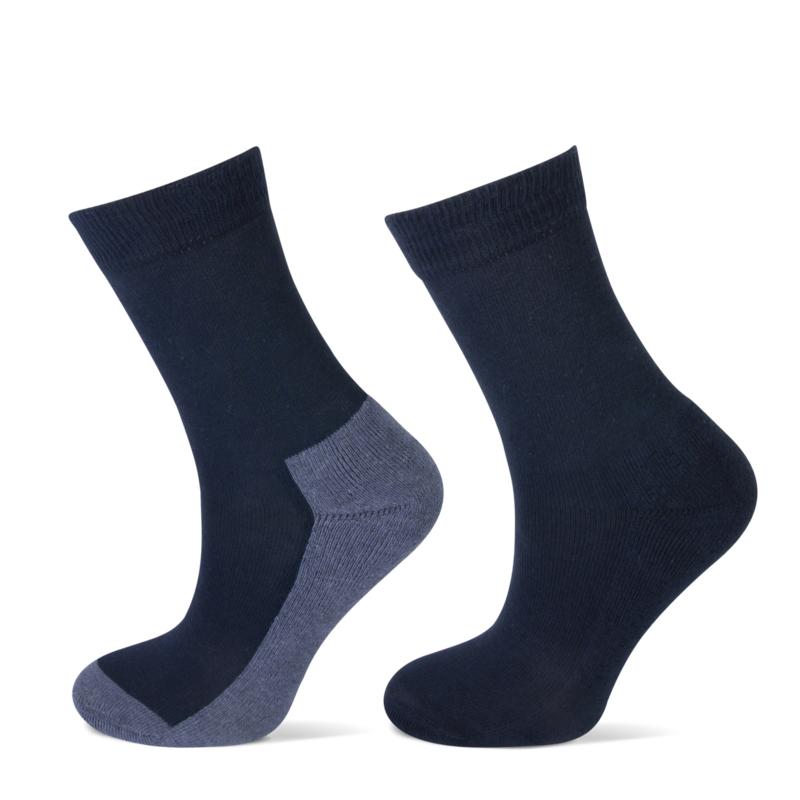 Kindersok uni met badstof zool marine/jeans 2-pak