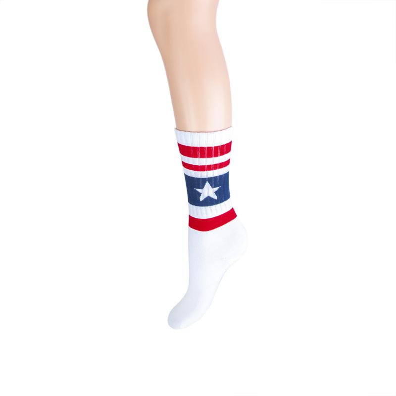 Long sock sportlook wit/blauw/rood