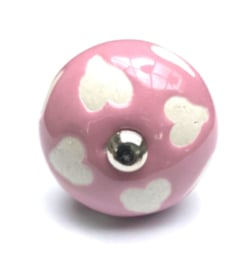 Roze deurknopjes met witte hartjes - Aanbieding 10 stuks €1,50 p.st.