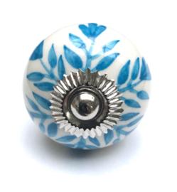 deurknop wit met blauwe accenten