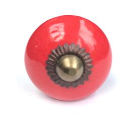 Kastknopje rood messing kroon