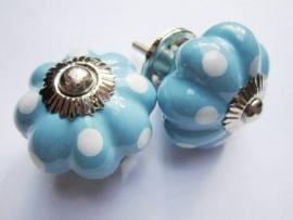 Blauwe Polka deurknop