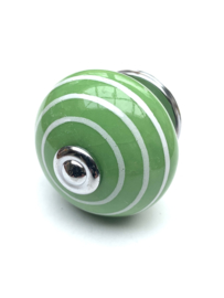 Porseleinen kastknop groen met witte strepen