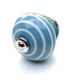 Porseleinen kastknop Blauw met witte strepen