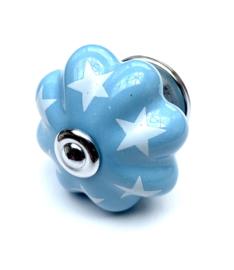 kastknop blauw met sterren