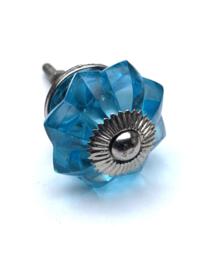Glazen bloem kastknop blauw