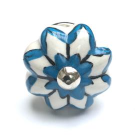 183 Möbelknopf Porzellanknauf Weiß Möbelknöpfe mit Blau Akzenten
