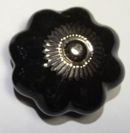 Zwarte porseleinen kastknop