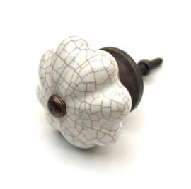 Authentieke witte kastknop craquelé