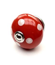 Porseleinen kastknop Rood met Witte Stippen
