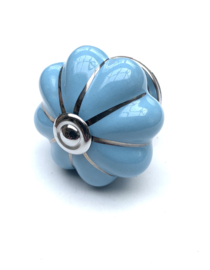 Porseleinen bloem kastknop baby blauw