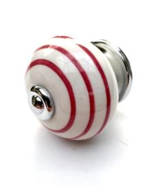 Kastknopje Wit met roze strepen