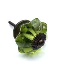 Glazen bloem kastknop antiek messing beslag