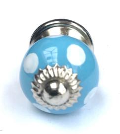 019 Porzellanknopf - Möbelknauf Polka dot Blau