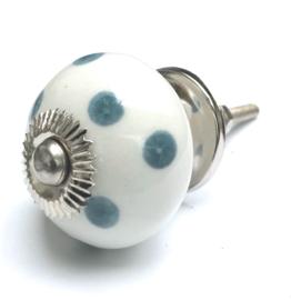 Deurknop kastknop grijze stippen, kastknoppen met Polka Dots grijs