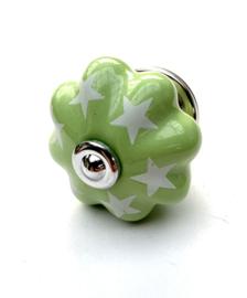 Groene kastknop met sterren
