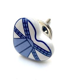 239 Real Dutchie Windmill, Möbelknopf Weiße mit Delfter Blau Windenergieanlage