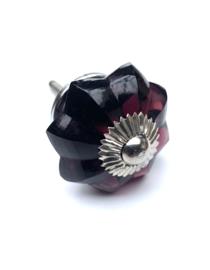 Glazen bloem kastknop paars