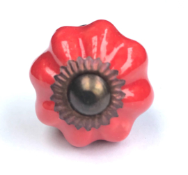 004 Möbelknopf Möbelknauf Porzellanknauf Shabby Chic Rot