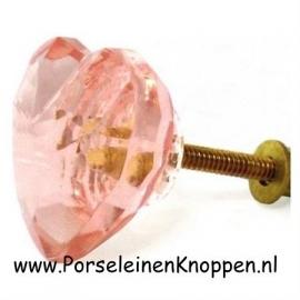 Glazen roze hartjes kastknoppen