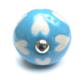 185 Möbelknopf Möbelknauf Porzellanknauf Blau Herzen