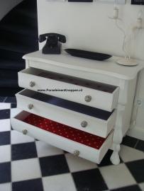 Het buikkastje van Sabine met zwart witte porseleinen kastknoppen