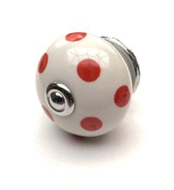 Porseleinen kastknop Wit met rode stippen