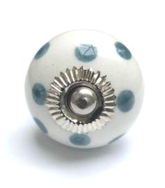 Deurknop kastknop grijs, polka kastknoppen