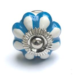 Möbelknopf Türknopf Weiß mit Blau Akzenten