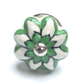 181 Möbelknopf Porzellanknauf Weiß Möbelknöpfe mit Grünen Akzenten