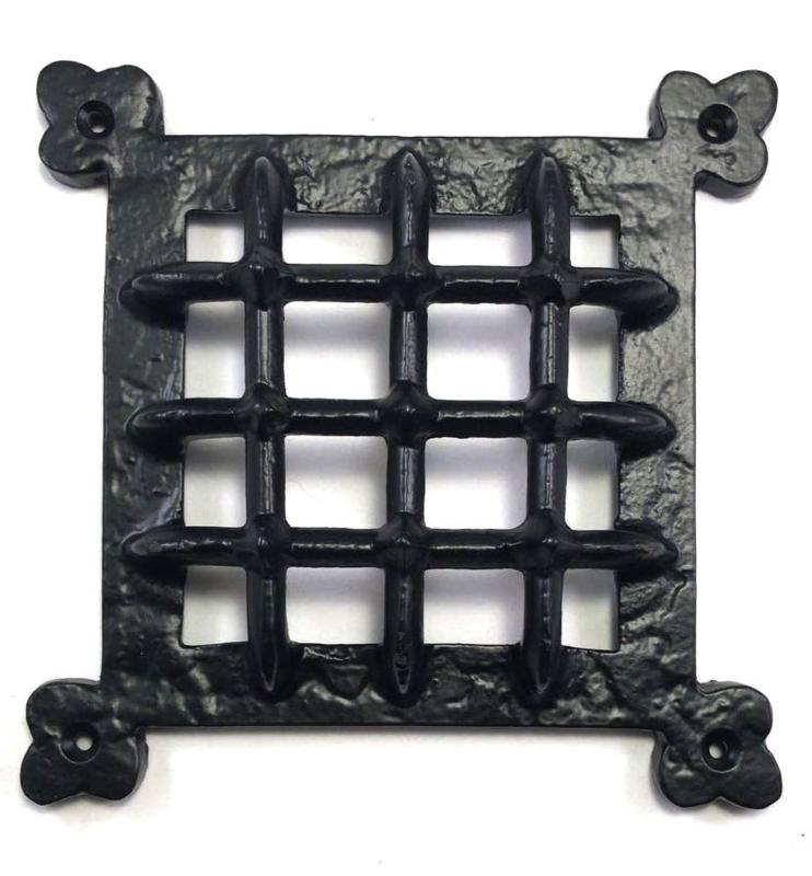 Smeedijzeren raamrooster zwart (160mm x 160mm) authentieke deurrooster