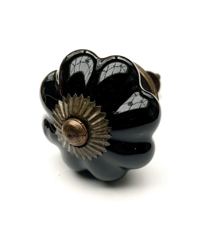 Bloem kastknop zwart