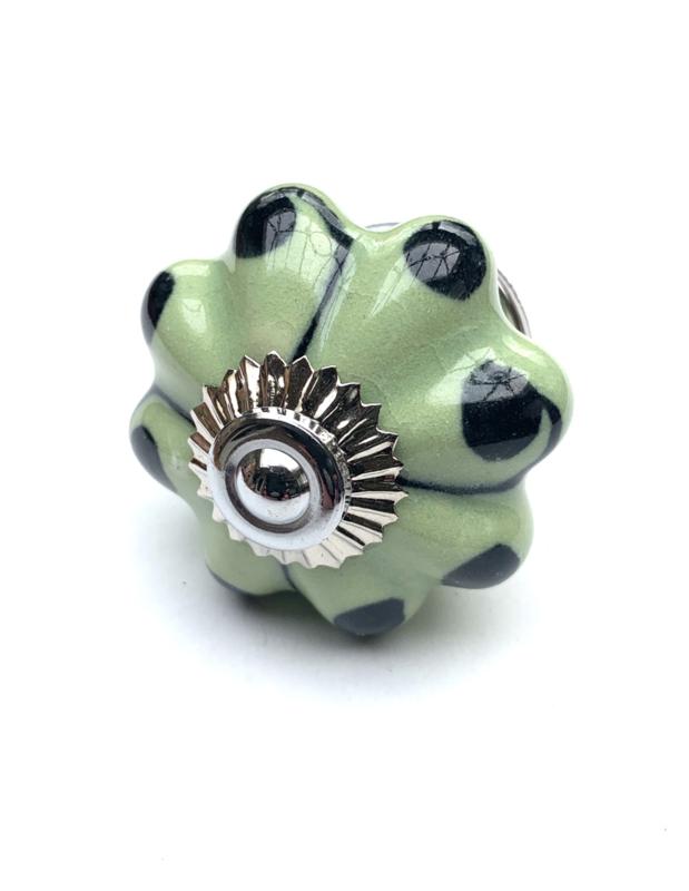 Porseleinen kastknop groen met zwart