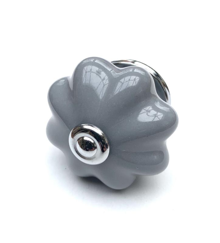 Porseleinen kastknop grijs, grijze kastknoppen