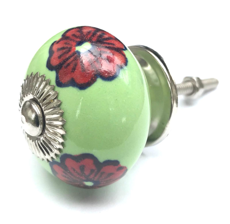 Groene porseleinen deurknop