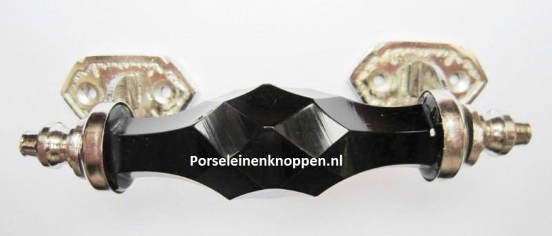 Glazen kastgreep zwart, 15cm